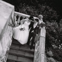 Black & White bride and groom at Alexander House