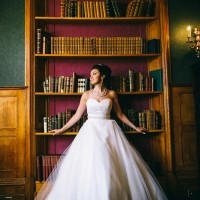 Bride in library in colour
