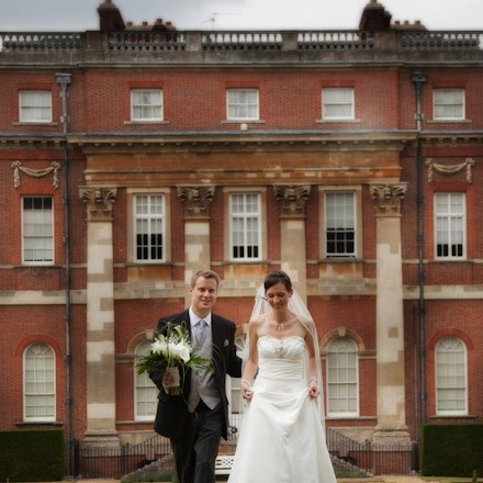 bride & groom after civil wedding ceremony at Clandon Park