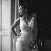 contemporary wedding photograph of bride at Goodwood House