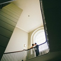 contemporary wedding photograph of bride & groom at Goodwood House