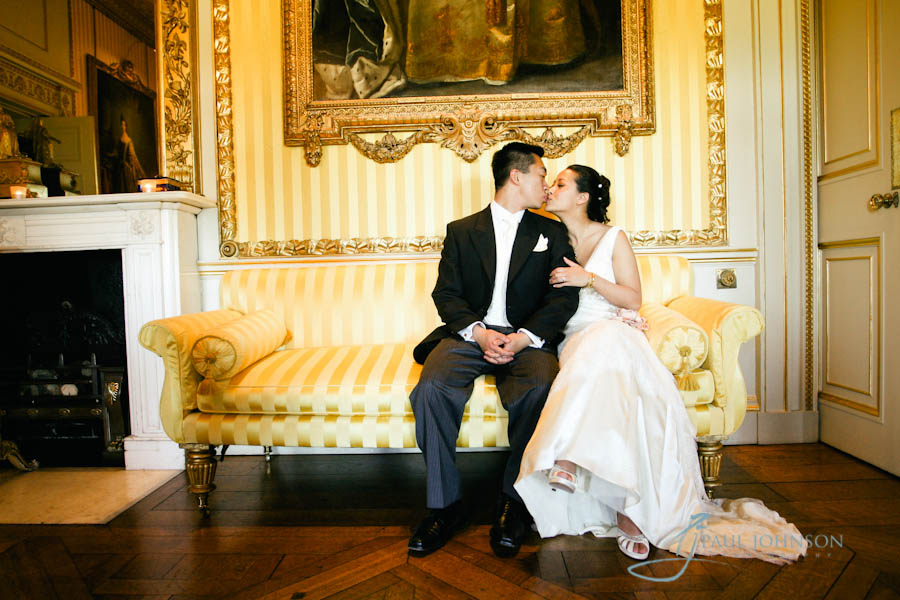 wedding photograph of bride & groom at Goodwood House