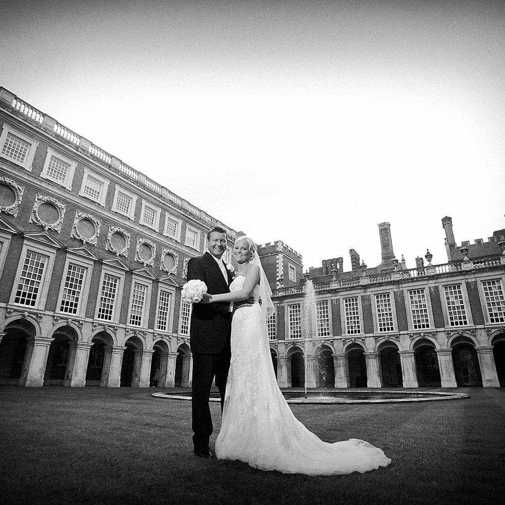 hampton court palace wedding photo of bride and groom