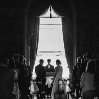 bride & groom during their civil wedding ceremony at Clandon Park