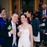 bride & groom after their wedding ceremony at Clandon Park