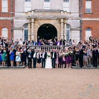big group photo at a civil wedding in surrey