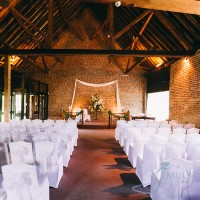 cooling castle barn set up for wedding ceremony