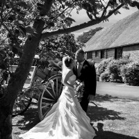 bride & groom black & white photo