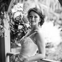 bride black & white relaxed portrait