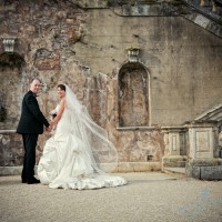contemporary wedding photo on the terraces of Cliveden House, Berkshire