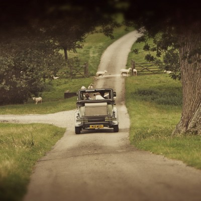 newly weds arrive at wiston house in sussex,