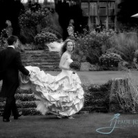 bride & groom wedding portrait in the garden of wiston house