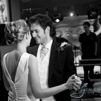 scuplture gallery, newly weds first dance