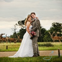 bride & groom at woburn abbey, deer in background