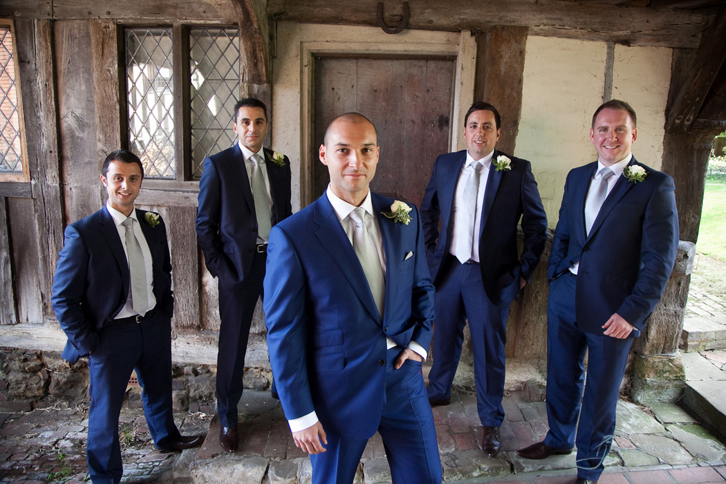 Grooms and ushers at the wedding in Penshurst, Kentt