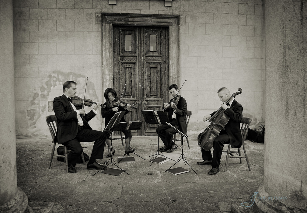 String quartet playing at a Surrey wedding