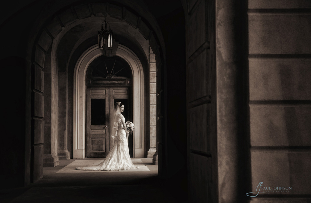 Beautiful bride photo in sepia