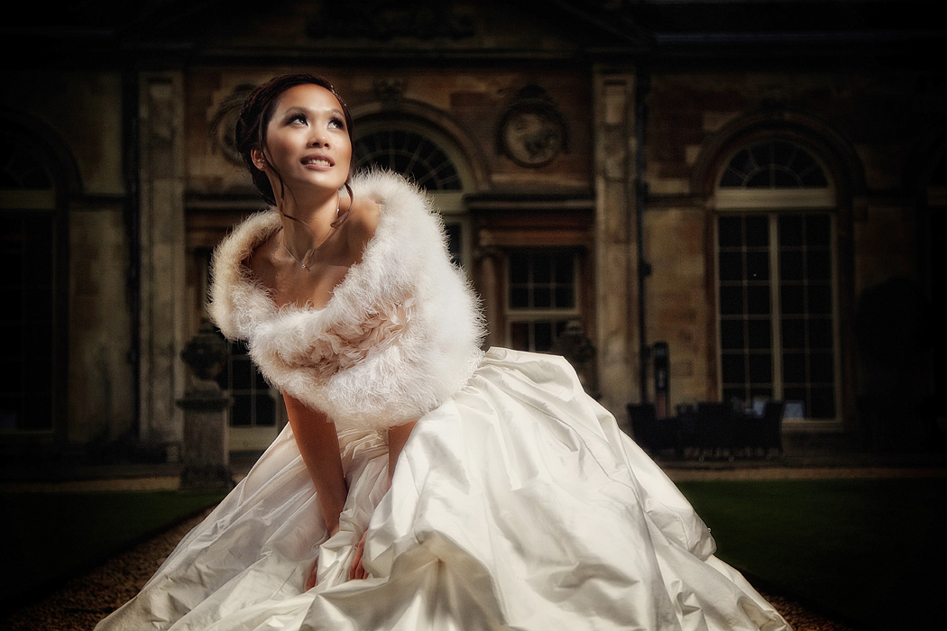 Off camera flash of Chinese bride at Sculpture Gallery, woburn
