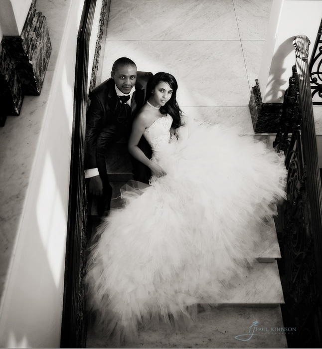 Bride & Groom photo, top of staircase at Mandarin Oriental, Knightsbridge