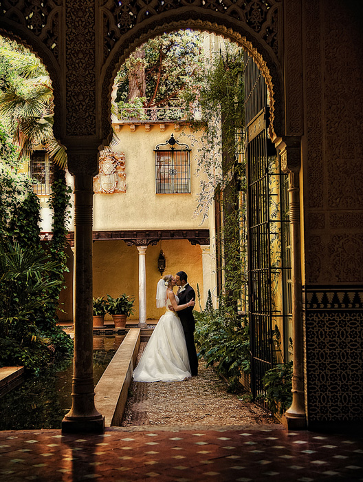 Destination wedding in Spain, couple embrace