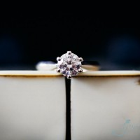 bride's diamond enagagement ring, macro