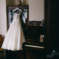 wedding dress handing in the lounge