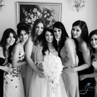 Bride with bridesmaids in black and white