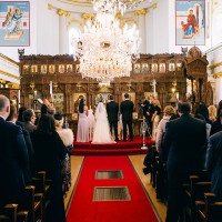 Greek wedding ceremony in London , back of the aisle