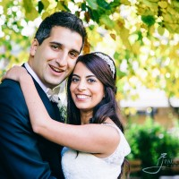 Bride & groom romantic portrait