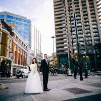 City of London street wedding photo