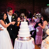 Bride & groom cut the cake