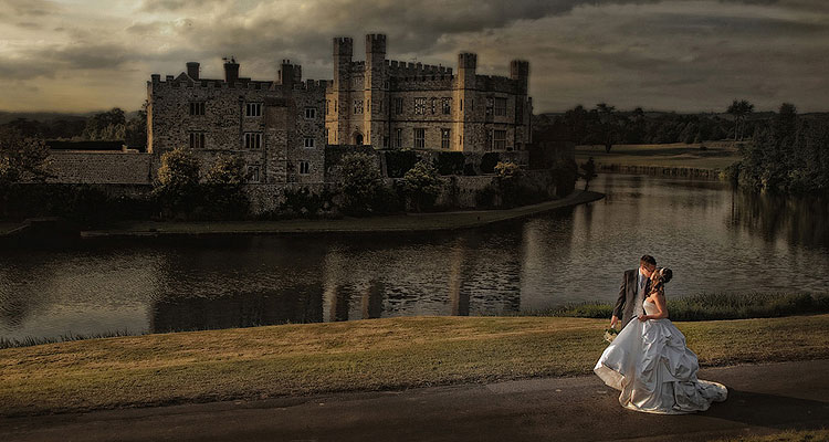 Award winning classical wedding photo at Leeds Castle, Kent by Paul Johnson in colour