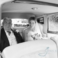 bride and dad in car