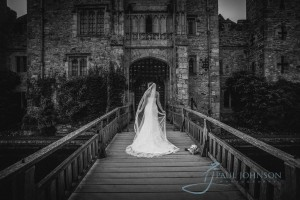 Hever Castle drawbridge wedding photo